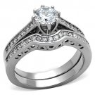 TK1330 Stainless Steel High polished Women AAA Grade CZ Wedding Set
