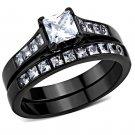 TK3555 Stainless Steel IP Black Women AAA Grade CZ Wedding Ring Set