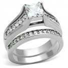 TK969 -  Wholesale Stainless Steel Ring High polished (no plating) Women AAA Grade CZ Clear