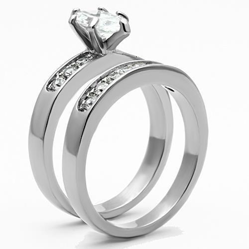 K1319 Stainless Steel High polished Women AAA Grade CZ Wedding Ring Set