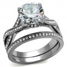 TK2478 Stainless Steel High polished Women AAA Grade CZ Wedding Ring Set