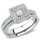 DA064 Stainless Steel High polished Women AAA Grade CZ Wedding Ring Set