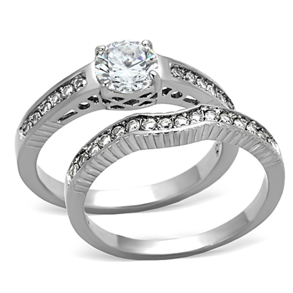 TK1231 Stainless Steel High polished Women AAA Grade CZ Wedding Ring Set