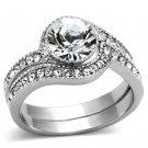 TK1155 Stainless Steel High polished Women Top Grade Crystal Wedding Ring Set