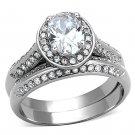 TK1W163 Stainless Steel High polished Women AAA Grade CZ Wedding Ring Set