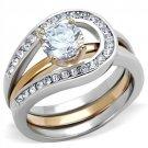 TK2032 Stainless Steel Two-Tone IP Rose Gold Women AAA Grade CZ Wedding Ring Set
