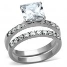 TK975 Stainless Steel High polished Women AAA Grade CZ Wedding Ring Set