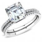 DA065 Stainless Steel High polished Women Cubic Wedding Ring Set
