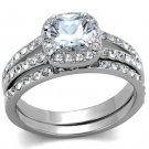 TK2180 Stainless Steel High polished Women AAA Grade CZ Wedding Ring Se