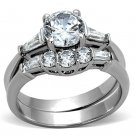 TK1W001 Stainless Steel High polished Women AAA Grade CZ Wedding Ring Set