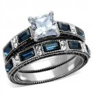 TK1829 Stainless Steel Ring High polished Women AAA Grade CZ Wedding Ring Set