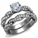 TK2475 Stainless Steel Ring High polished CZ Wedding Ring Set
