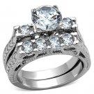 TK5X019 Stainless Steel Women AAA CZ Wedding Ring Set