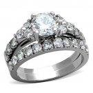 TK1331 Stainless Steel Ring High polished Women AAA Grade CZ Wedding Ring Set