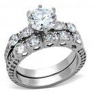 TK1450 Stainless Steel High polished Women AAA Grade CZ Wedding Ring Set