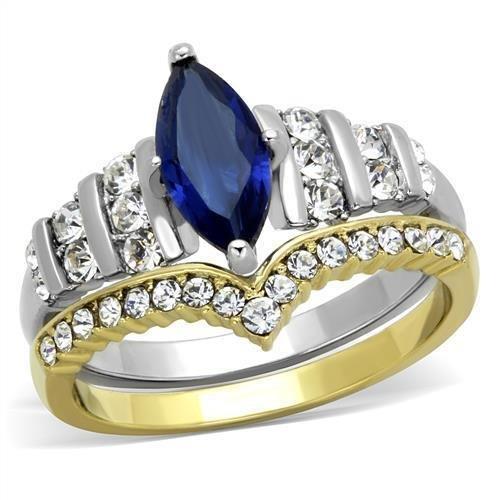 TK1796 Stainless Steel Two-Tone IP Gold Women Montana Wedding Ring Set