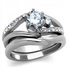 TK2118 Stainless Steel Ring High polished Women CZ Wedding Ring Set