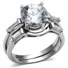 TK2878 Stainless Steel High polished Women AAA CZ Wedding Ring Set