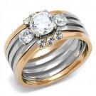 TK3212 Stainless Steel Two-Tone IP Rose Gold Women CZ Wedding Ring Set