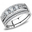 DA062 Stainless Steel High polished Women AAA Grade CZ Wedding Ring Set