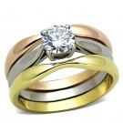 TK1278 Stainless Steel Three Tone Gold Rose Gold High Polished) Women AAA CZ Wedding Ring Set