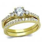 TK2133 Stainless Steel IP Gold Women AAA Grade CZ Wedding Ring Set