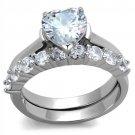 TK2176 Stainless Steel High polished Women AAA Grade CZ Wedding Ring Set
