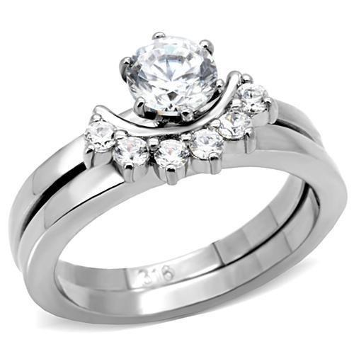 TK105 Stainless Steel High polished Women AAA Grade CZ Wedding Ring Set