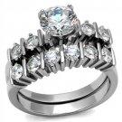 TK2869 Stainless Steel High polished Women AAA Grade CZ Wedding Ring Set