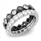 TK3231 Stainless Steel Two-Tone Black Women AAA Grade CZ Black Diamond Ring