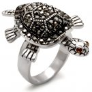 0W285 Brass Rhodium Women Top Grade Crystal Multi Color Cocktail Ring