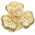 0W312 Brass Gold Women AAA Grade CZ Multi Color Cocktail Ring