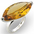 33915 925 Sterling Silver High-Polished Women AAA Grade CZ Citrine Cocktail Ring