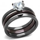 TK1274DC Light Black & Dark Brown Stainless Steel AAA Grade CZ Ring