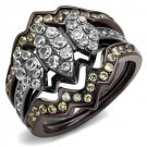 TK1869LJ Light Black & Dark Brown Stainless Steel Ring with AAA Grade CZ in Clear
