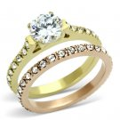 TK968 IP Gold & IP Rose Gold Stainless Steel AAA Grade CZ Ring