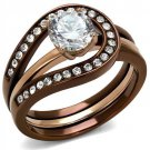 TK2032LC IP Rose Gold & IP light Coffee Stainless Steel AAA Grade CZ Ring