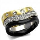 TK2299 IP Gold+ IP Black Stainless Steel Top Grade Crystal Ring