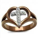 TK2802 Two Tone IP Light Brown (IP Light coffee) Stainless Steel Top Grade Crystal Cross Ring