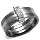 TK2599 Two Tone IP Light Black Stainless Steel Top Grade Crystal Ring