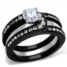 TK2303 Two-Tone IP Black Stainless Steel AAA Grade CZ Ring