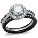TK2620 Two-Tone IP Black Stainless Steel AAA Grade CZ Ring