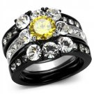TK2615 Two-Tone IP Black Stainless Steel AAA Grade CZ Topaz Ring