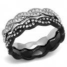 TK3265 Two-Tone IP Black Stainless Steel Top Grade Crystal Eternity Ring
