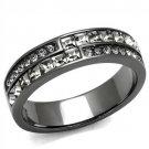 TK2799 Light Black Stainless Steel Crystal Black Diamond Eternity Ring
