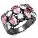 TK2776 Light Black Stainless Steel AAA Grade CZ Rose Eternity Ring