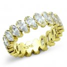 TK1234 IP Gold Stainless Steel AAA Grade CZ Marquise-cut Eternity Ring