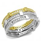 TS527 Gold+Rhodium 925 Sterling Silver AAA Grade CZ Eternity Ring in Clear