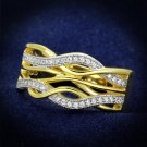 TS253 Gold+Rhodium 925 Sterling Silver AAA Grade CZ Fashion Eternity Ring in Clear