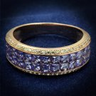 TS525 Rose Gold 925 Sterling Silver Ring AAA Grade CZ Eternity Ring in Amethyst